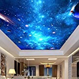 Leegt Personalizado 3D Photo Wallpaper Ceiling Mural Sala De Estar Dormitorio Bar Ceiling Background Wall Decor Wallpapers Home Galaxy Starry Sky3D Papel Pintado Fresco Wallpaper Mural 300cmX200cm