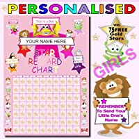 Childrens Reward Chart For Girls A4 Personalised With 75 Free Gold Metallic Stars..Remember To Tell Us The Name You Would Like To Be Printed On The Reward Chart THANK YOU..See Photo No 2 For Details