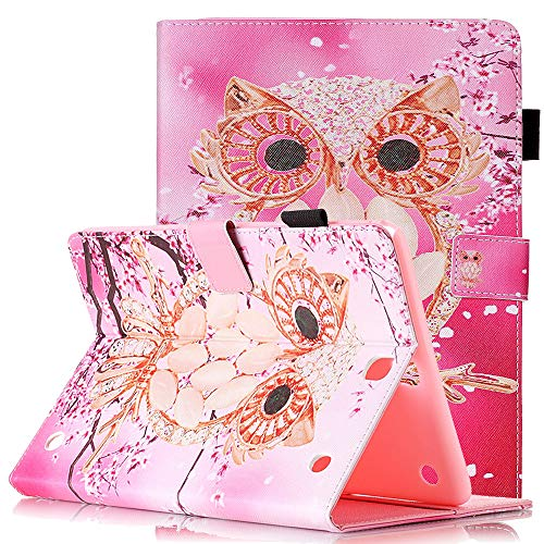 9.7 SM-T550 Tablet Hülle 2015 Schutzhülle Leder Smart Card Case mit Auto Sleep/Wake Stylus Pen Holder Cute Cartoon Flip Stand Cover for Samsung SM-T555, Pink Shell Owl ()