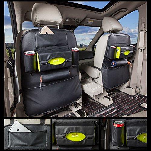 Preisvergleich Produktbild Coface Auto Rücksitz Organisator PU Leder Qualitätssitz Schutz für das Luxuxauto Mehrzweckgebrauch als Selbstsitz Rückseiten Schutz, tritt Matte und Auto-Organisator (Packung mit 2 Stück, schwarz)