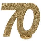 cama24com XXL Tischdeko Zahl 70 Geburtstag Gold Glitzer 1 Stück Party-Deko Palandi®