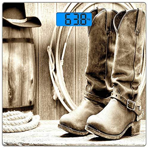 Präzisions-Digital-Körpergewichtswaage Western Ultra Slim Gehärtetes Glas-Personenwaage Genaue Gewichtsmessungen, traditionelles Rodeo-Zubehör mit Roper-Stiefeln in Vintage-Farben Nostalgic Wild Photo