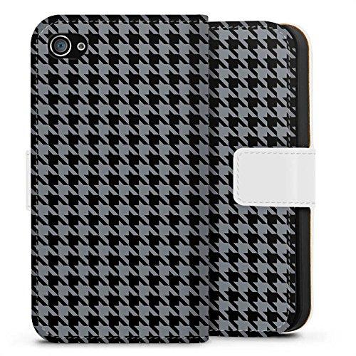 Apple iPhone X Silikon Hülle Case Schutzhülle Muster Schwarz Grau Karomuster Sideflip Tasche weiß