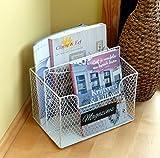 Wunderschöner Zeitschriftenständer Zeitungsständer Zeitungskorb Zeitschriftenhalter aus - Metall - mit 2 Fächern Vintage Landhaus - Weiß
