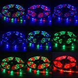 THG Flexible 16.4 ft Waterproof Switchback RGB Mixed Colors 300 SMD 3528 LED Strip Lights + IR Remote Control Receiver With 2A Power Adapter Supply