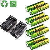 Li-ion battery, Switchali 8PCS 3.7v 5000mAh 18650 skywolfeye Wiederaufladbar Litium-ionen batterie (Schwarz)