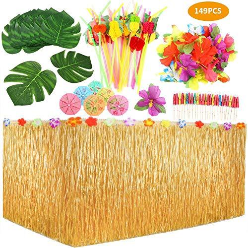 CARTEY Hawaiianischer Luau Tischrock 149-teiliges Tropical Party Deko Set mit 9 Fuß Hawaiianischem Tischrock für hawaiianische Luau Party Tischdekorationen