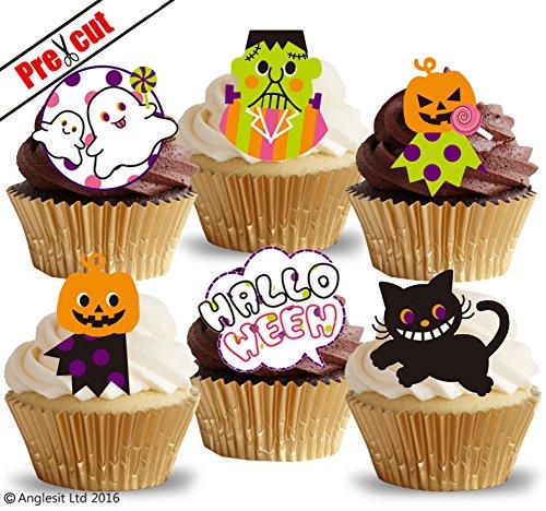 loween Mix i. Frankenstein Katze Kürbis Ghost essbarem Reispapier/Waffel Papier Cupcake Kuchen Topper Halloween Party Dekorationen ()