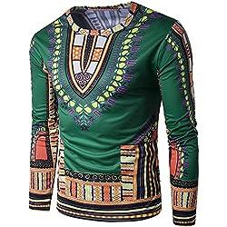 Rcool Hombres Tradicionales de Tailandia Estilo Africano de Manga Larga Camiseta Blusa Tops Part 2 (L, Verde)