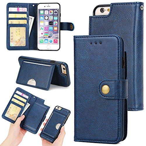 Preisvergleich Produktbild Hongfei iPhone 6 plus / 6s plus Flip Hüllen 5,5 Zoll PU-Leder Brieftasche Telefonkasten Karten- / Bill-Slot Ständer Magnetschnalle Retro-Stil Blau