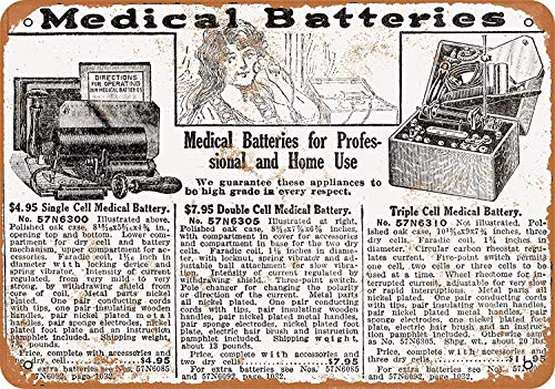 OURTrade 12 x 16 Tin Metal Sign - Vintage Look 1918 Sears Medical Batteries -