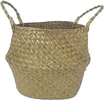 SODIAL Seagrass cesta de cesteria de mimbre plegable colgante maceta de flores maceta sucia de lavanderia cesto de...
