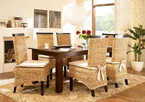 Massivum Nizza Esstisch und 6 Stühle, Holz, kolonial, 100 x 200 x 75 cm