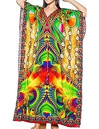 LA LEELA Costumi da Bagno Beachwear Aloha Rayon Mano Abito Caftano  Nightwear Maxi Caftano delle Donne 404d9f967213