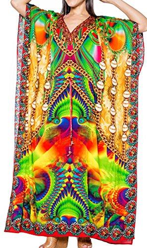 LA LEELA weich Likre exzentrischen Kunst Kimono Langes Abendkleid Kaftan Maxi grün