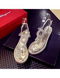 Fondo plano sandalias de lujo de perforación de agua sandalias de verano a nivel de campo con el clip femenino...