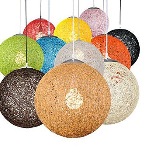 Huahan Haituo Moderne Schwarz Gitter Wicker Rattan Globus Ball Stil Decke Pendelleuchte Lampenschirm Home Esszimmer Dekoration Lampen (Braun, 30cm)