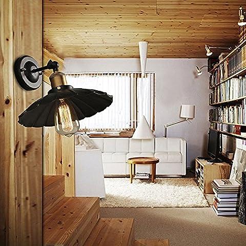 Gweat E27 220V 25 * 20Cm 5-8 Ccreative Escalera Restauración De Las Maneras Antiguas Sola Cabeza Negro Vestido Hierro Forjado Lámpara De