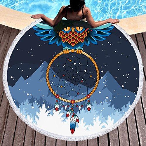 Chickwin Toalla de Playa Redondo, Microfibra Tapiz de Pared Manta Multi-Funcional para Yoga Gimnasio Baño Picnic Decoración Viaje Esterilla (150 cm (59 Pulgadas), Atrapasueños K)