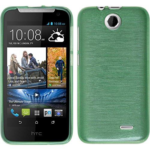 PhoneNatic Case für HTC Desire 310 Hülle Silikon grün brushed Cover Desire 310 Tasche + 2 Schutzfolien