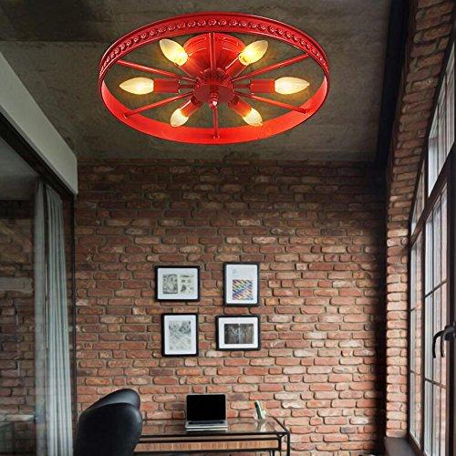 Retro Rad Deckenleuchte Vintage Runde Deckenlampe Antik Industry Ring Design Kreative Decorative Deckenstrahler Eisen Lampeschirm Deckenbeleuchtung für Wohnzimmer Kinderzimmer Bar Cafe 6*E14 Ø46cm (Rot)