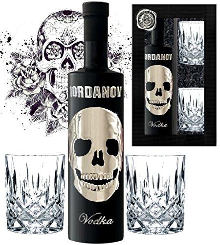 DAS Vodka Geschenk Black Wodka Luxus Designer Iordanov mit Chrome Skull inkl. 2 edlen Gläsern Luxus Geschenk für Mann Geburtstag