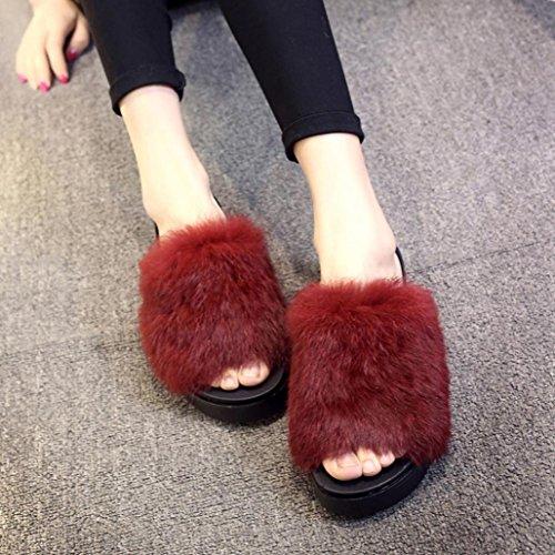 piatto pizzo Pantofole Longra in Rosso Pantofole di e inverno Vino morbido autunno piane nvva8WO