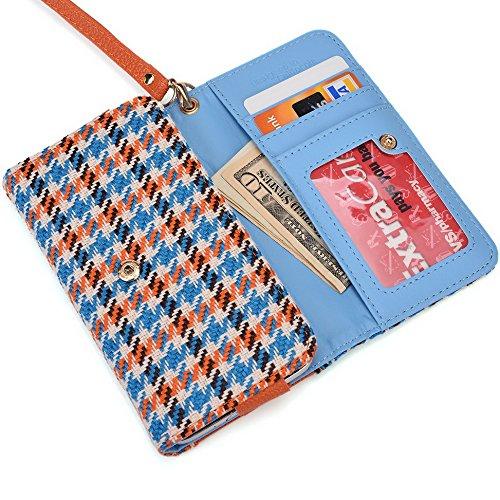 Kroo Sac poignet/Coque Convient pour Nokia Lumia 925/635 Purple Leopard Blue Houndstooth and Orange