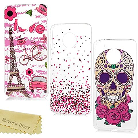 [3-Pack] Mavis's Diary Motorola Moto G5 Case ,Moto G5 Phone Case - 3 Pieces Clear Soft Flexible TPU Silicone Rubber Skin Bumper Cover Shell Shock-Absorption Ultra Thin Stylish Prints Protective Cases Pack of 3 - Group
