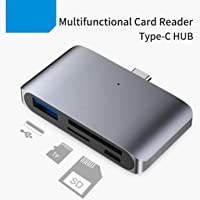 AROPANA USB C OTG Card Reader, USB C Hub 2-Slot SD/TF/Micro SD Port Card Reader, USB C OTG to USB 3.0 Converter and Micro USB Port with USB C Male Connector for Type C Smart Phones, Tablets with OTG