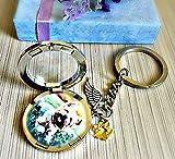 Haustier Erinnerung Engel Flügel Medaillon Schlüsselanhänger - Katze Hund Denkmal Für oder Foto Kondolenz-Andenken Urne Schlüsselbund Sympathie Gedenkfeier
