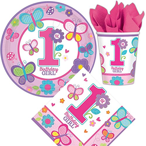 32-teiliges Set * 1. GEBURTSTAG GIRL * mit Pappteller + Servietten + Pappbecher + Deko für Kindergeburtstag // Teller Becher Essen Pappe Geschirr Party Deko Dekoration Einweg Kinder erster Geburtstag Mottoparty Birthday Shower Pink Rosa Mädchen Baby
