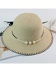 OME&QIUMEI Hat, Verano De Sol, Sombrero De Paja, Sombrero Para El Sol, Sombrero, Beige