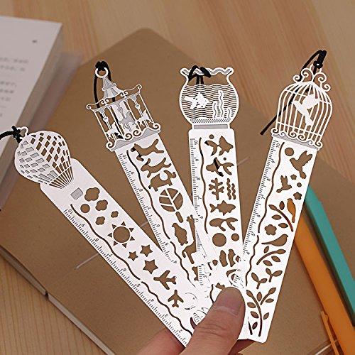 Segnalibro Righello in materiale latta sottile elegante taglia con laser Ideale regalo (Mongolfiera)