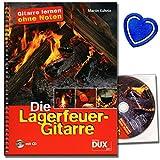 Die Lagerfeuer-Gitarre im Ringeinband (+CD) - Gitarre lernen ohne Noten mit 54 beliebten Songs (Ringeinband) von Martin Kuhnle - mit bunter herzförmiger Notenklammer