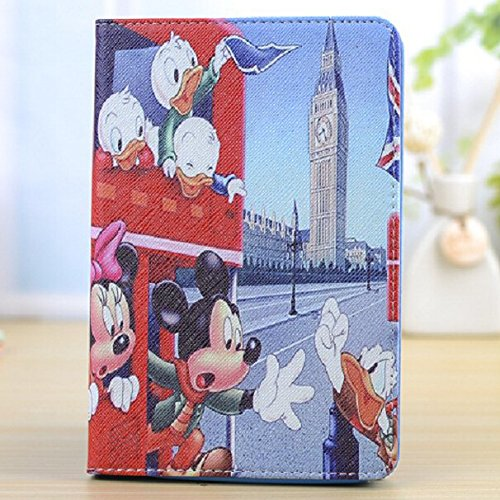 Samsung Galaxy Tab 4 8.0 (8 pollici) Cute bambini Disney Frozen Principessa Supporto a portafoglio Flip Cover per Samsung Galaxy Tab 4 8.0 SM-T330 Tablet PC serie) Mickey & Donald in London Bus