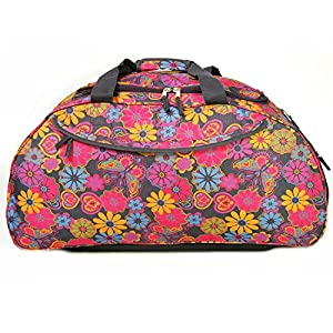 "30"" Extra Large Navy Blue Flower Print Lightweight Wheeled Holdall Holiday Weekend Travel Bag"
