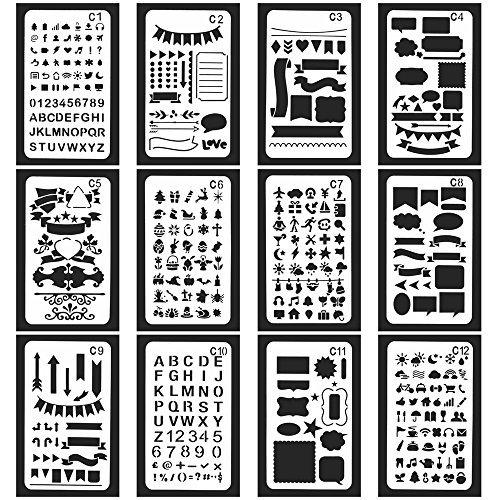 vancool 24Stück Bullet Journal Schablone Set Kunststoff Planer Zeichnen Vorlage für journary/Notebook/Diary/Scrapbook, 10,2x 17,8cm, perfekt für Weihnachten Memorial (2015 Tagebuch-seite Ein Tag)