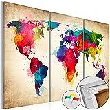 Neuheit! Weltkarte mit Kork Rückwand 120x80 cm - Bilder Leinwandbild Poster Pinnwand Kunstdruck Welt Landkarte Karte k-A-0006-p-f 120x80 cm B&D XXL