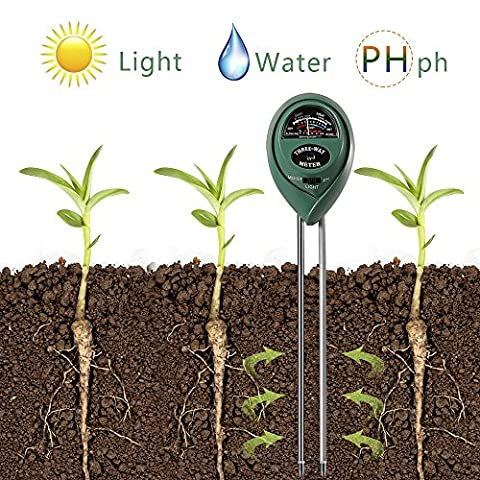 3 in 1 Soil Tester for PH, Light & Moisture, Plant Test Kit for Home and Garden, Farm, Lawn, Indoor & Outdoor, Easy Read Indicator (No Battery