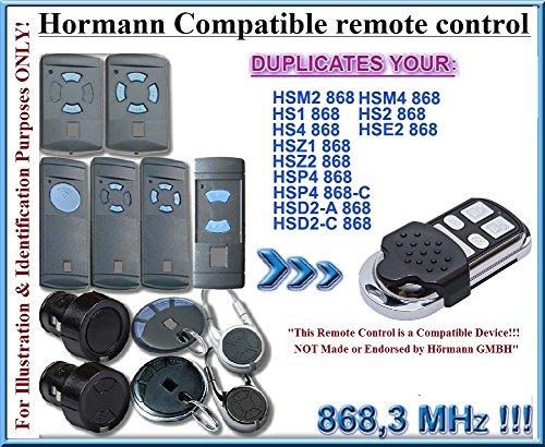 Hörmann HSM2 / HSM4 / HS1 / HS2 / HS4 / HSE2 / HSD2-A / HSD2-C / HSP4 / HSP4-C / HSZ1 / HSZ2 Compatible Télécommande, 4 canaux 868,3Mhz fixed code CLONER. Remplacement de haute qualité pour LE MEILLEUR PRIX!!! (PAS COMPATIBLE avec BS BiSecur Télécommandes)