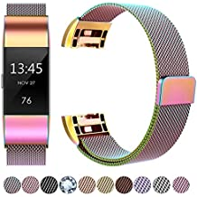 HUMENN For Fitbit Charge 2 Strap Bands, Luxury Milanese Stainless Steel Adjustable Strap with Magnetic Closure for Fitbit Charge2 Rose Gold Silver Colourful Diamond S & L
