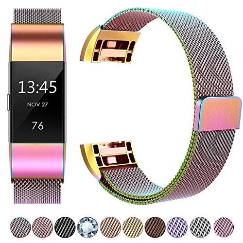 HUMENN Für Fitbit Charge 2 Armband, Luxus Milanese Edelstahl Handgelenk Ersatzband Smart Watch Armbänder mit Starkem Magnetverschluss für Fitbit Charge 2, Small Bunt