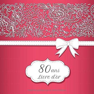 Livre d'or 80 ans: Anniversaire | Thème Rouge | Espace pour 270 invités | 21x21cm