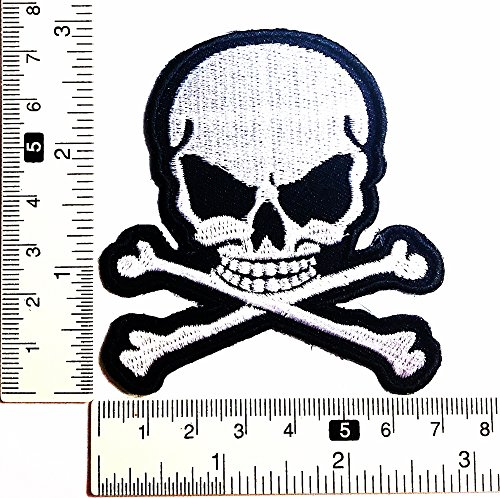 opf Gefahr Skelett Halloween Patch Weste/Jacke Biker Patch Motorrad Fahrer Biker Tattoo Jacke T-Shirt Patch Sew Iron on gesticktes Schild Badge (Halloween Eisen-auf Applikationen)