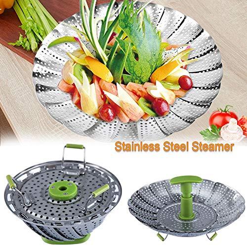 Dampfeinsatz für Gemüsekörbe aus 9-Zoll-Edelstahl mit ausziehbarem Griff zum Kochen von Meeresfrüchten-Gemüse, erweiterbar auf verschiedene Größen