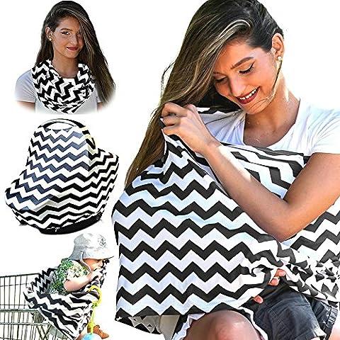 NaiFei Deal-Premium Qualität Nursing Schal / Nursing Cover infinity Stillschal auf Stillen. Einfach tragen, ultra weich, vielseitig, stilvolle Abnutzung. (Schwarz-weißer Köper)