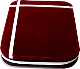 GiRiJA 12 Slots Fabric Red Jewellery Pouch for Women