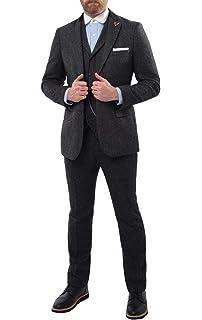 Loch Hart Herren Donegal Tweed Anzug 3 Teilig Marineblau mit