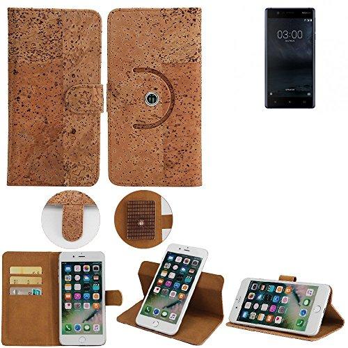 K-S-Trade Schutz Hülle für Nokia 3 Dual-SIM Handyhülle Kork Handy Tasche Korkhülle Handytasche Wallet Case Walletcase Schutzhülle Flip Cover Smartphone